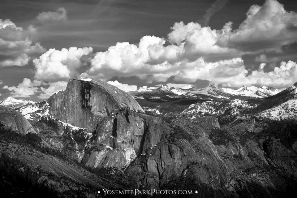 Dramatic black and white scene with Half Dome and Snowy Hi Sierra Peaks - Yosemite Landscapes
