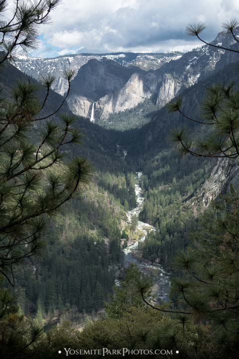Merced River Canyon and Flowing Bridalveil Fall from Viewpoint on Highway 120