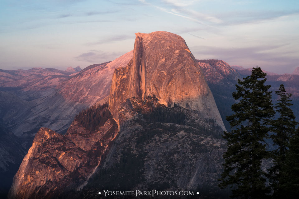 Pink Sunset and Half Dome Closeup, taken from Glacier Point Road - Yosemite Landscapes