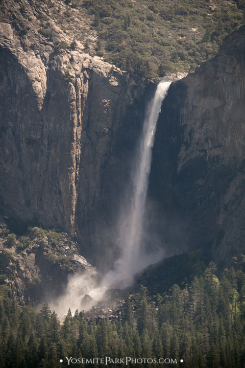 Bridalveil Fall Telephoto zoom, from above at Tunnel View - March