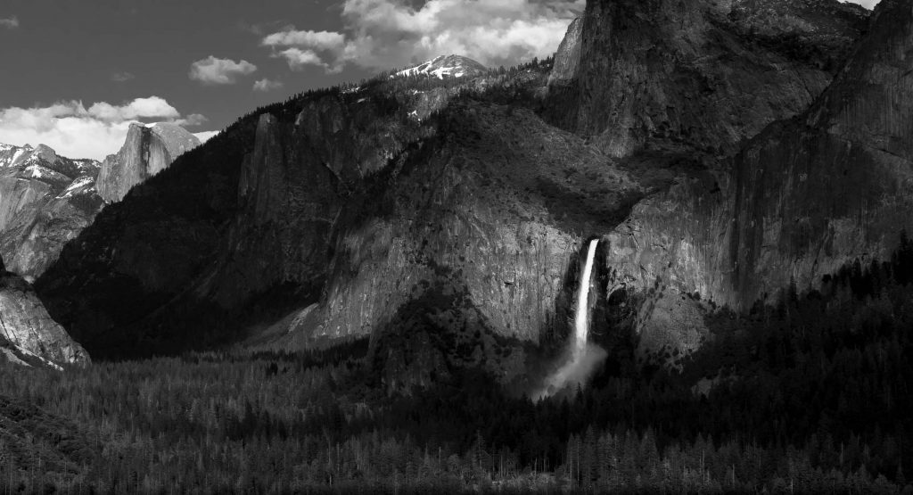 Bridalveil Fall & Yosemite Valley - Black & White from Tunnel View