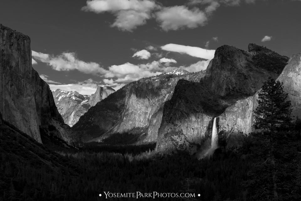 Bridalveil Fall illuminated in the Valley - Black and White - Yosemite Waterfalls by Nathan Allen