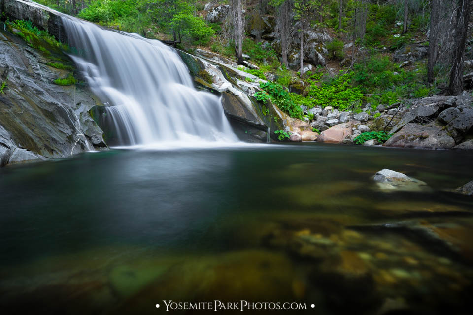 The Carlon Falls pool is popular for wading & swimming in summertime (long exposure)