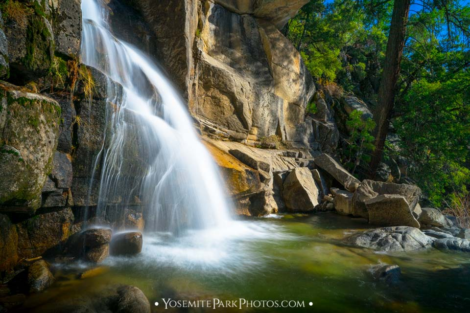 Long exposure section of The Cascades, falls trickling down a mountainside - Yosemite Waterfalls