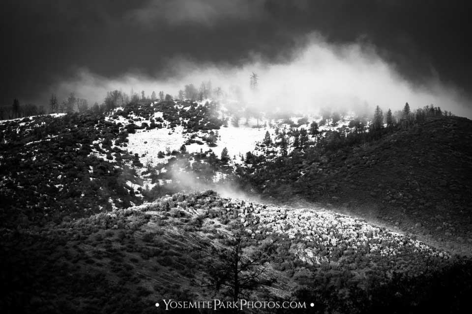 """Steamy"" clouds on snowy foothill layers, black and white - Yosemite storm photography"