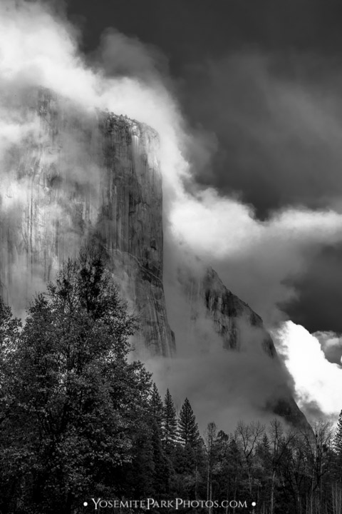 El Capitan, Shrouded in Fog - Black and White - Yosemite Photography