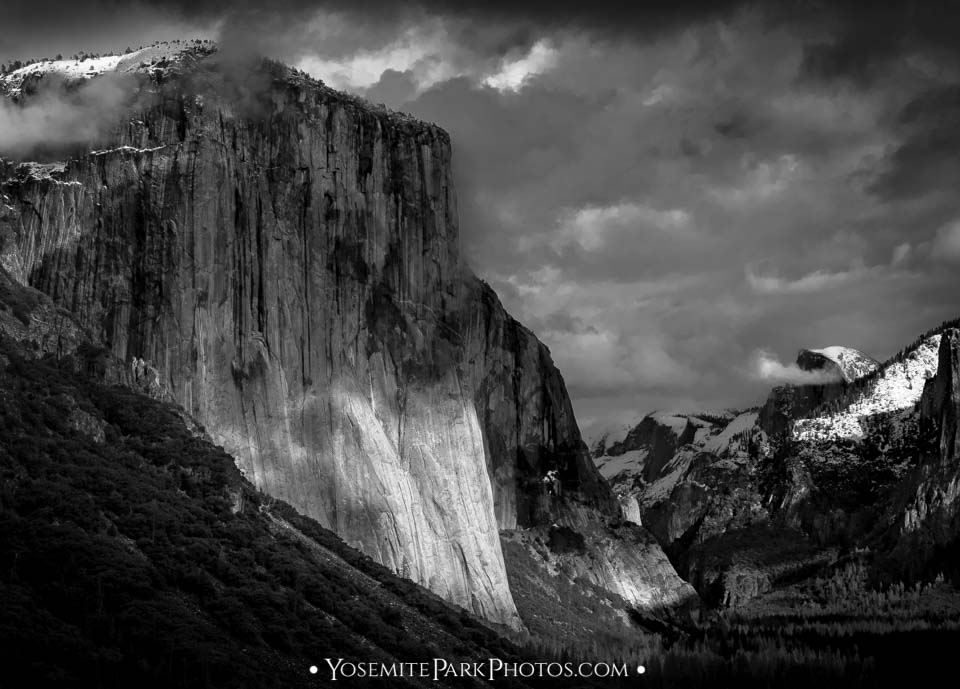 Moody skies over El Capitan, black and white - Yosemite storm photography