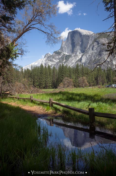 Half Dome Creek Reflection, at Stoneman Meadow - Yosemite Valley Landmarks