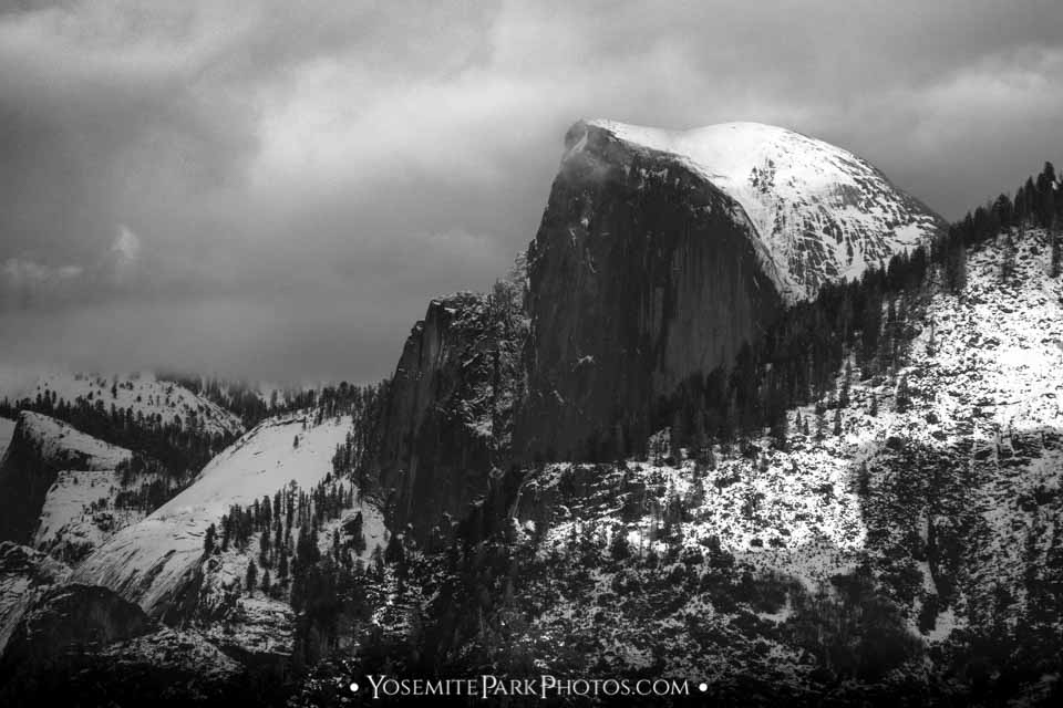 Half Dome Closeup - Yosemite Winter Snow, Black and White.