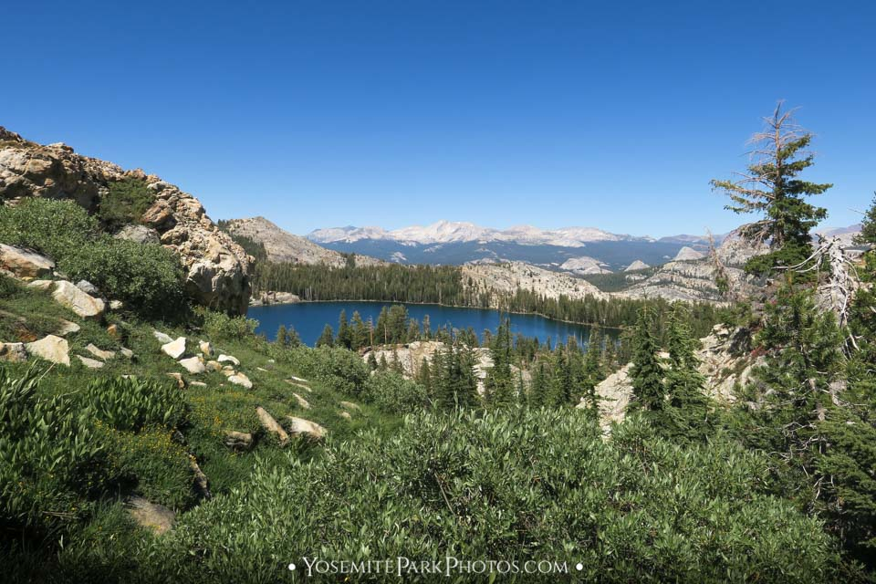 May Lake - blue water surrounded by Granite Mountains