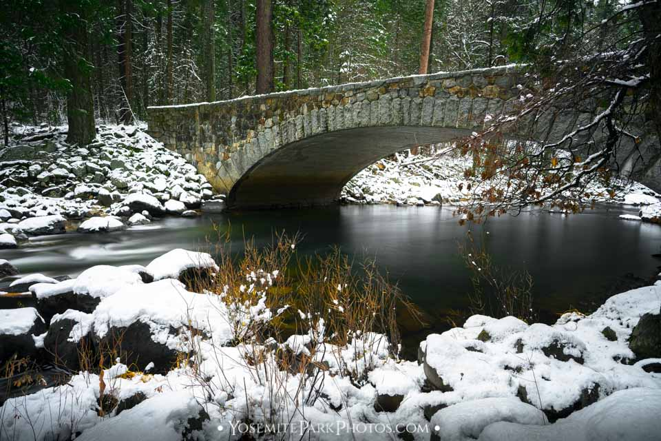 Pohono Bridge over Merced River in December - Yosemite Winter Snow, long exposure