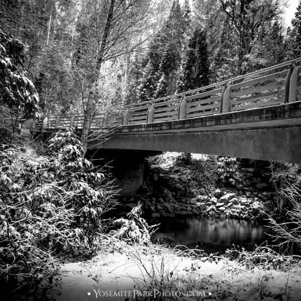 Winter snow and bridge crossing over South Fork of Tuolumne River - by Nathan Allen