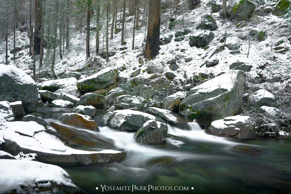 Snowy South Fork Tuolumne River - December