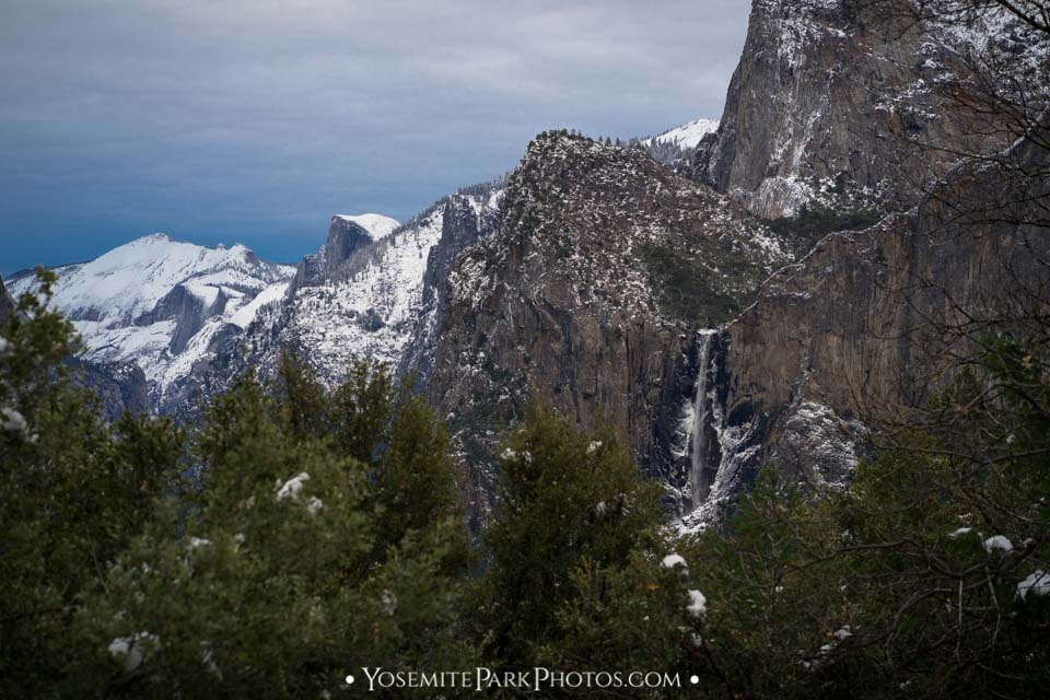 Snowy Yosemite Valley in December, from Tunnel View