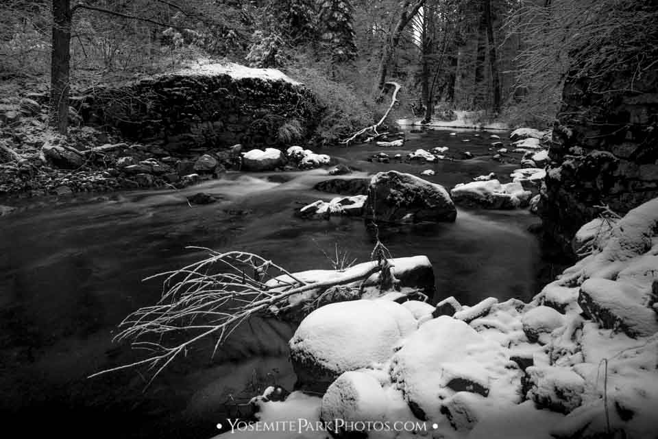 Tuolumne River in Snow, Near Evergreen Road - Black and white