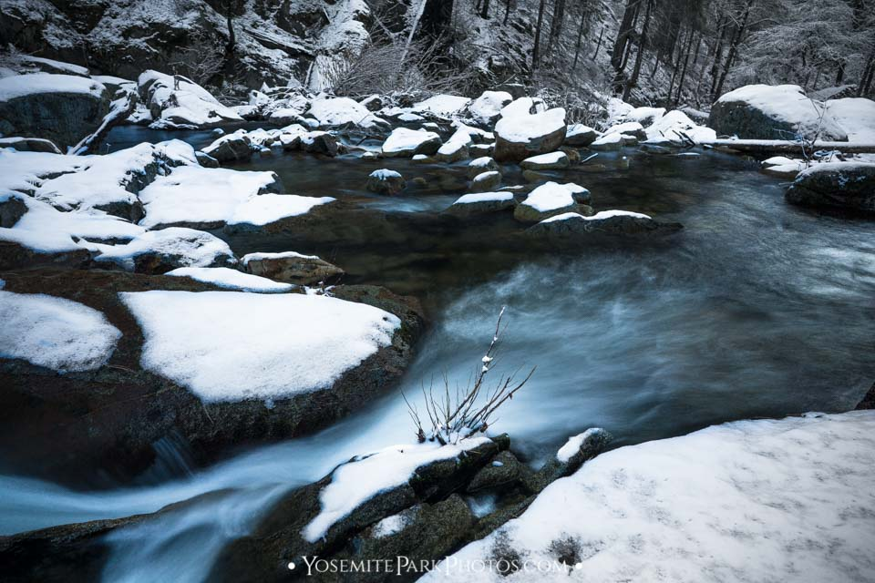 Long Exposure of South Fork Tuolumne River, covered in Winter Snow - Evergreen Road near Carlon Falls