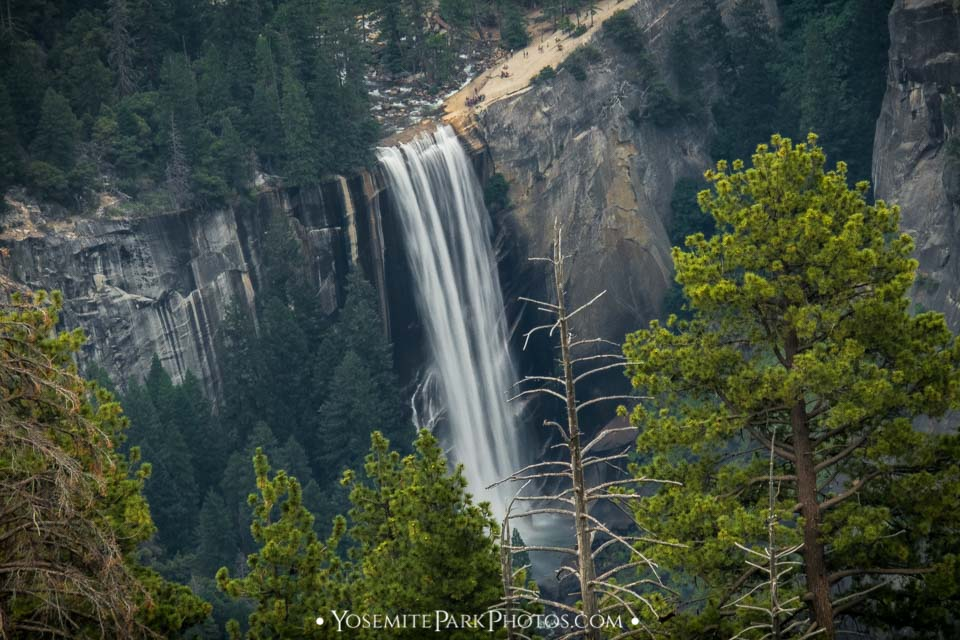Vernal Fall Photos - Zoomed in From Glacier Point, summer flow
