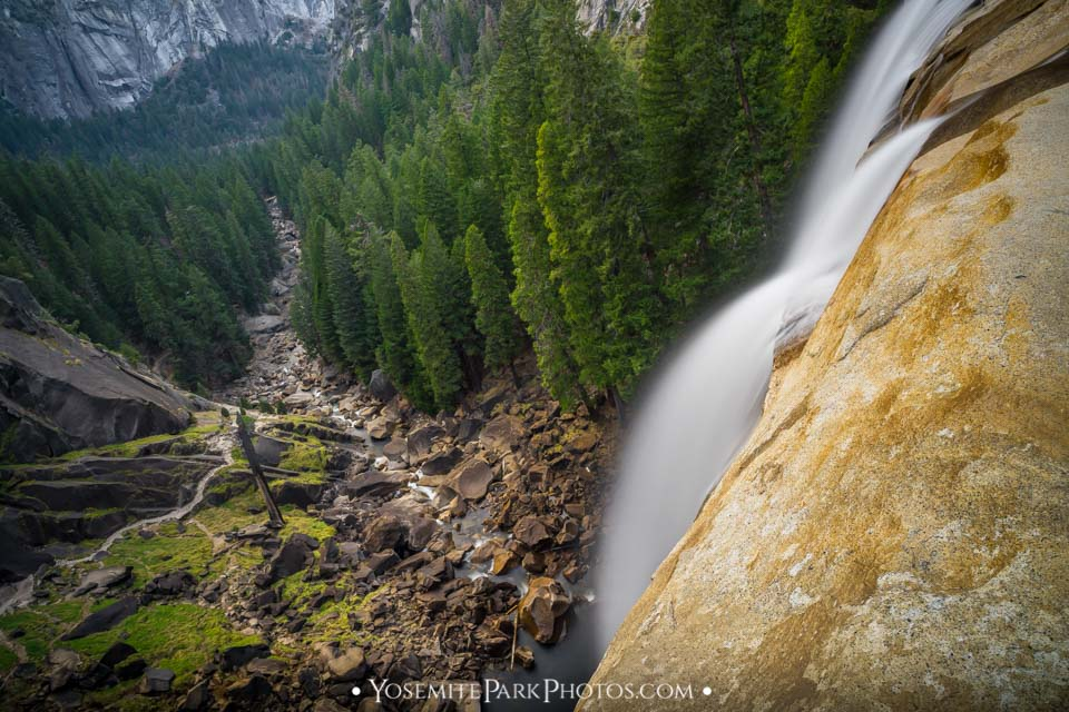 Long exposure water cascading over the top of Vernal Falls, with valley floor below - Yosemite Landscapes by Nathan Allen