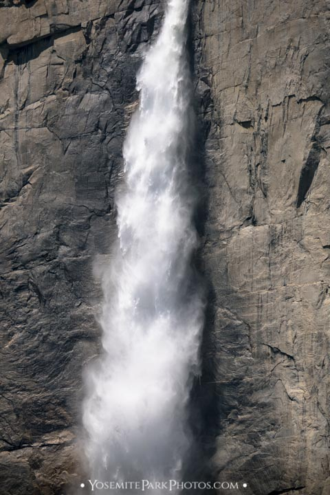 Closeup of yosemite falls - peak flow in May - portrait orientation