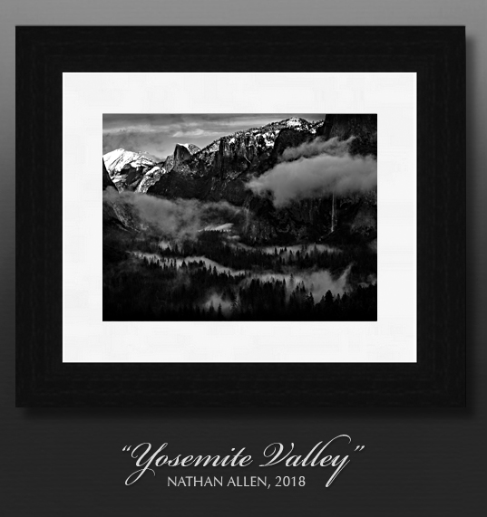 Example of a framed print on the wall - Yosemite Valley Fog, B&W